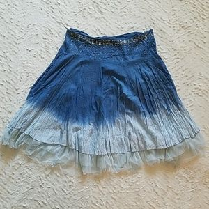 Crinkly Midi Skirt w/Tulle Edging and Beaded Waist